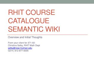 RHIT Course  Catalogue  Semantic Wiki