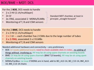 BOE/BME – MDT:  DCS