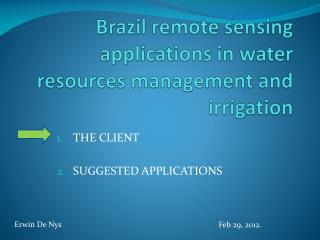 Brazil remote sensing applications in water resources management and irrigation