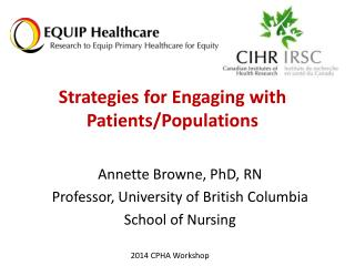 Strategies for Engaging with  Patients/Populations
