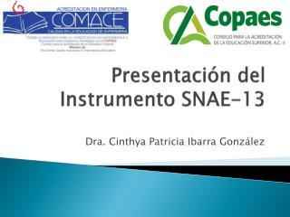 Presentación del Instrumento SNAE-13