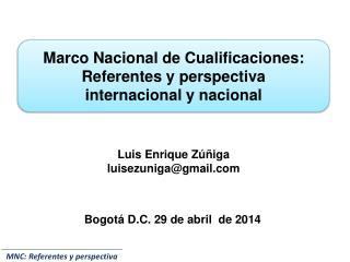 Marco  Nacional de  Cualificaciones:  Referentes  y perspectiva  internacional  y  nacional