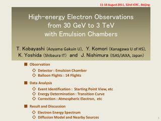 ■   Observation ◇   Detector : Emulsion Chamber  ◇   Balloon Flights : 14 Flights