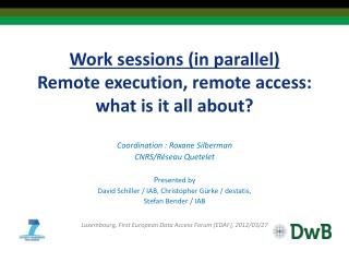 Work sessions (in parallel) Remote execution, remote access: what is it  all about?