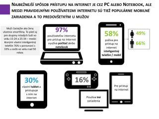 9 7 %  používateľov internetu pre prístup na internet využíva  počítač  alebo  notebook