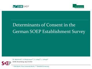 Determinants of Consent in the German SOEP Establishment Survey