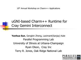 uGNI -based Charm++ Runtime for  Cray Gemini Interconnect