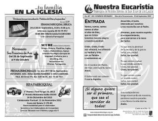 No .  407   XXV  DOMINGO ORDINARIO      Mes de la Perseverancia   23 de Septiembre 2012