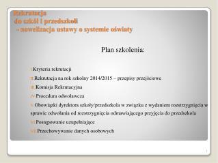 Rekrutacja  do szkół i przedszkoli   - nowelizacja ustawy o systemie oświaty
