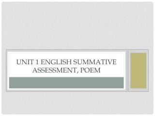 Unit 1 English Summative Assessment, Poem
