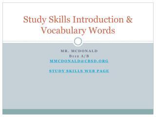 Study Skills Introduction & Vocabulary Words