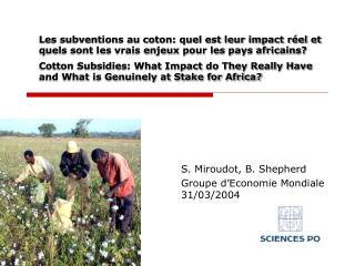 Les subventions au coton: quel est leur impact r el et quels sont les vrais enjeux pour les pays africains  Cotton Subsi
