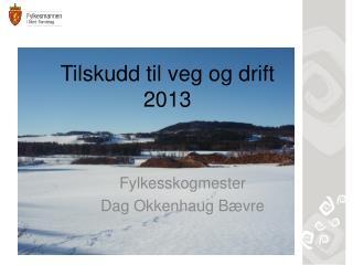 Tilskudd til veg  og drift 2013