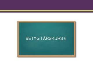 BETYG I ÅRSKURS 6