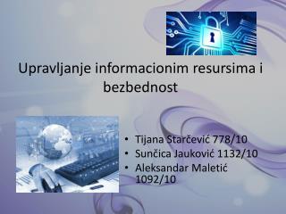Upravljanje informacionim resursima i bezbednost