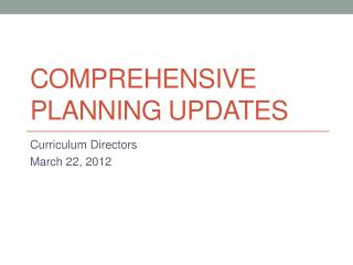 Comprehensive Planning Updates