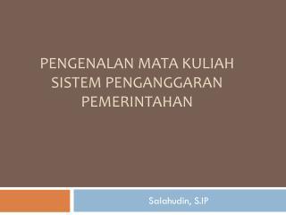 Pengenalan mata kuliah sistem penganggaran pemerintahan