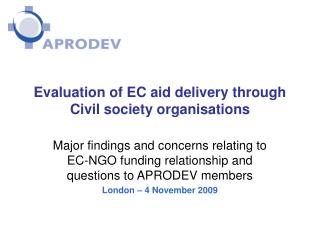 Evaluation of EC aid delivery through  Civil society organisations