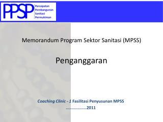Memorandum Program  Sektor Sanitasi  (MPSS) Penganggaran