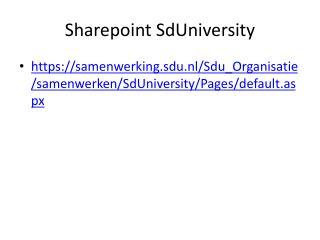 Sharepoint  SdUniversity