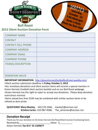 Bull Roast  2012 Silent Auction Donation Form