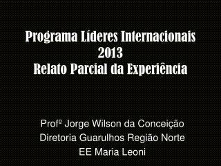 Programa Líderes Internacionais 2013 Relato Parcial da Experiência