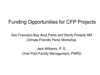 Funding Opportunities for CFP Projects