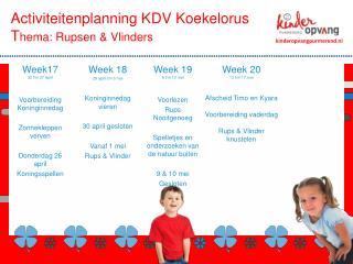 Activiteitenplanning  KDV Koekelorus T hema :  Rupsen &  Vlinders