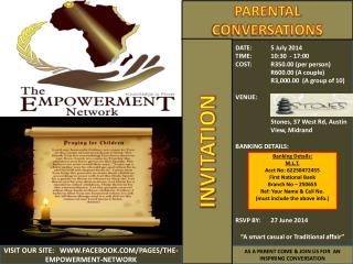 DATE:  5 July 2014 TIME: 10:30  - 17:00  COST: R350.00 (per person) R600.00 (A couple)
