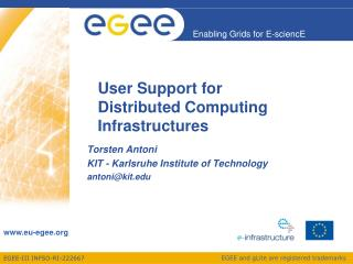 User Support for  Distributed Computing Infrastructures