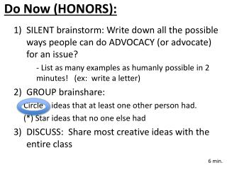 Do  Now (HONORS):