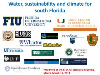 Water, sustainability and climate for south Florida