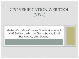 CPC Verification Web Tool (VWT)