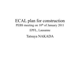 ECAL plan for construction PEBS meeting on 10 th  of January 2011 EPFL, Lausanne
