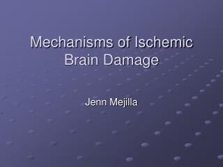 Mechanisms of Ischemic Brain Damage