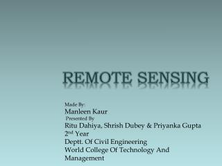 Made By: Manleen Kaur Presented By Ritu Dahiya,  S hrish Dubey  &  Priyanka Gupta 2 nd  Year