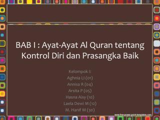 BAB I :  Ayat-Ayat  Al Quran  tentang Kontrol Diri dan Prasangka Baik