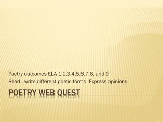 Poetry Web Quest
