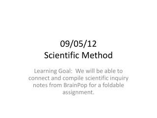 09/05/12 Scientific Method