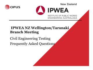 IPWEA NZ Wellington/Taranaki Branch Meeting