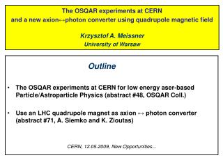 The OSQAR experiments at CERN  and a new  axion↔photon  converter using quadrupole magnetic field