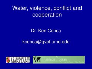 Water, violence, conflict and cooperation