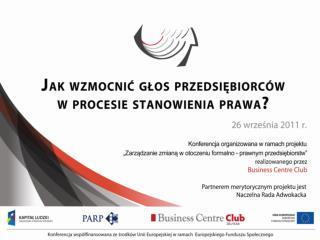 PROGRAM KONFERENCJI Warszawa, 26 września 2011