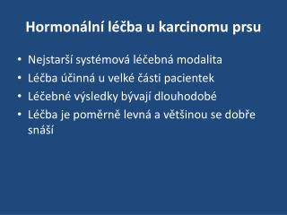 Hormonální léčba u karcinomu prsu