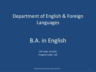 Department of English & Foreign Languages