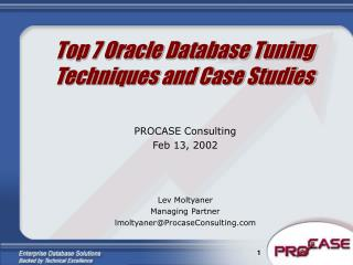 Top 7 Oracle Database Tuning Techniques and Case Studies