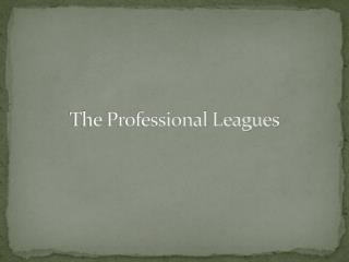 The Professional Leagues