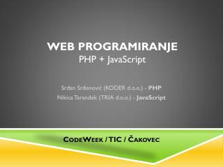 Web programiranje PHP + JavaScript