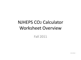 NJHEPS CO 2  Calculator Worksheet Overview
