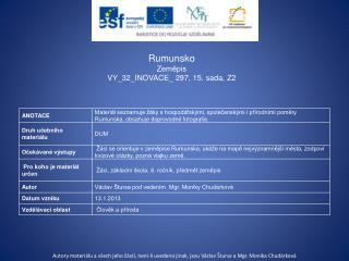 Rumunsko Zeměpis VY_32_INOVACE_ 297 , 15.  sada, Z2